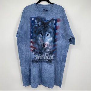 The mountain wolf American flag t shirt top 3X 3XL